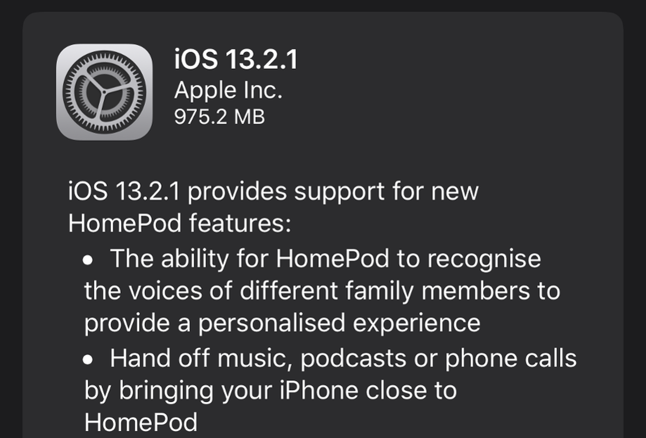 Apple Releases iOS 13.2.1 update for HomePod fixing Bricking problem