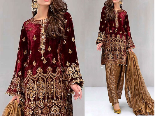 , Velvet Dresses Pakistani Collection For Women | Embroidered Velvet Suit